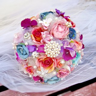 Wedding flower bouquet, bridal bouquet, briidesmaid bouquet B011