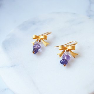 Anniewhere | Handmade natural stone earrings | Mist gold bow amethyst (clampable)