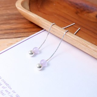 Lavender Amethyst Venice Long Chain Earrings (Small) - 925 Sterling Silver Natural Stone Earrings