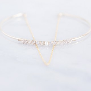 【14KGF】 Hammered Open Chain Wire Bangle-Pearlx Grayyny-