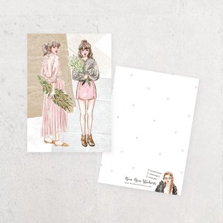 Illustration Postcard - Flower Girl A