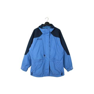 Back to Green :: Windproof cotton jacket Columbia light blue stitching dark blue // unisex / / vintage outdoor (CO-08)