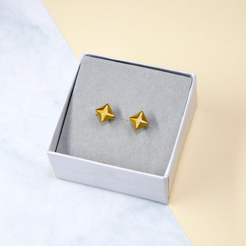 【出清品】絕版複古金色摺紙鑽石形耳環
