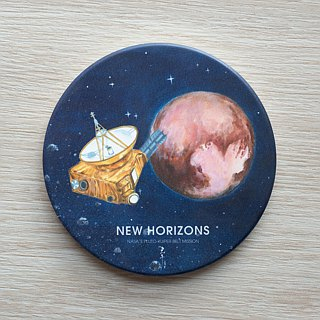 Astronomical series coasters. {New horizons fly over Pluto} ceramic coasters