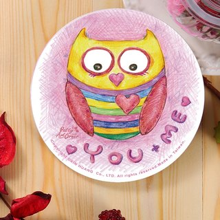 Painted Absorbent Ceramic Coasters – Valentine's Day series - Owl's love