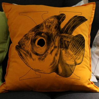 [X] ray fish X ray fish: hand-painted letters pillow