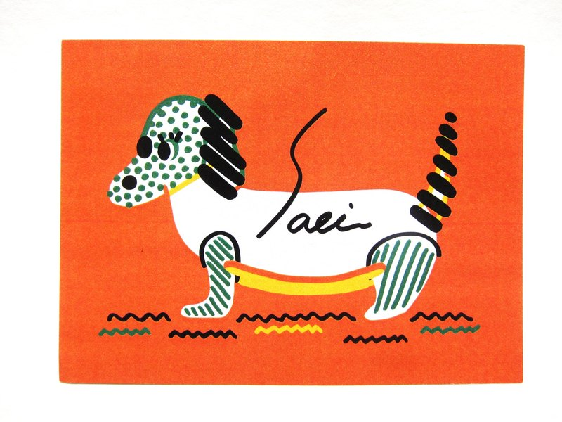 """Sausage dog"" postcards birthday card design colored illustration Illustrated card Universal Card Art Valentine love modern art particularly interesting characteristics strange weird cute yellow Taiwan's fun eye-catching sequins flash the inf"