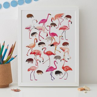 FLAMINGOS AND HEDGEHOGS PRINT