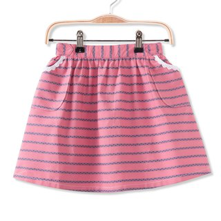 Lace pocket striped skirt