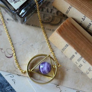 Geometric Triangle with Amethyst Gemstone Surgical Steels Necklace