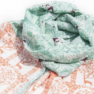 Hand-woven pure silk scarves handmade woodcut printing plant dyeing scarves grass wood dyed cotton scarves - orange deer forest