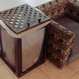 Industrial wind customization _ iron net Bucket / trash / laundry basket / installation art