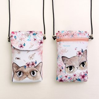 Light side backpack / cell phone bag / carry bag --- flower cat