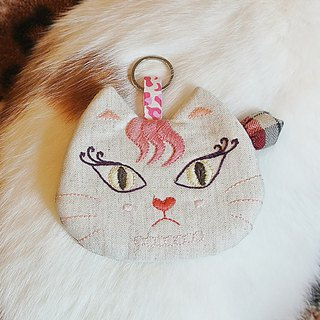 Love angry curling eyelashes pink cat girl _ embroidery purse card sets