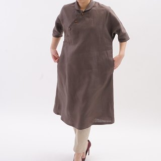 Belgium linen Ao dai shawl collar dolman sleeve dress / Van Dyke Brown a47-4