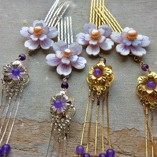 Handmade ~ Chinese style antique shell double flower hair comb (purple / pair / gold / silver)