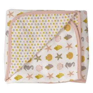 100% Organic Cotton Pink Starfish Pattern Baby Towel Made in England
