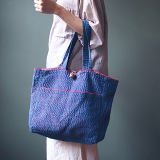 OMAKE blue dyed hand embroidered bell dual-use bag