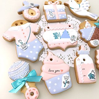 Hand-painted flowers and trees cute sticker set 10 cookies