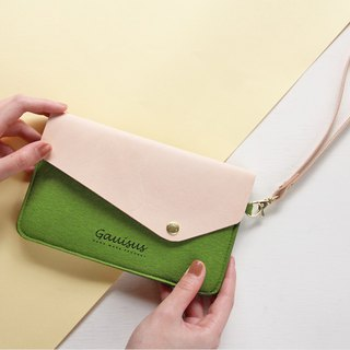 Leyang·Gauisus - Felt beveled cover mobile phone storage bag / Passport bag - Green grass green