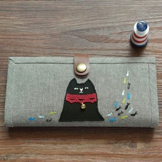 [Bell black] hand-embroidered patch Japanese grocery wind Literary long wallet wallet