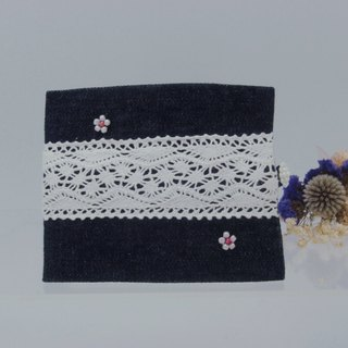 Handmade Lace Canvas Flower Beaded Facial Tissue Double Inner Pouch Blue