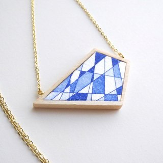 The necklace of etching print and wood <The pieces of ores / Blue>