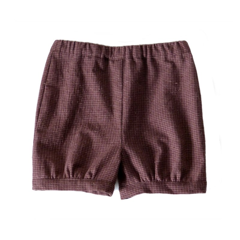 Little Girls Maroon Gingham Check Knee Shorts - 100% Cotton - Handmade Children's Clothes