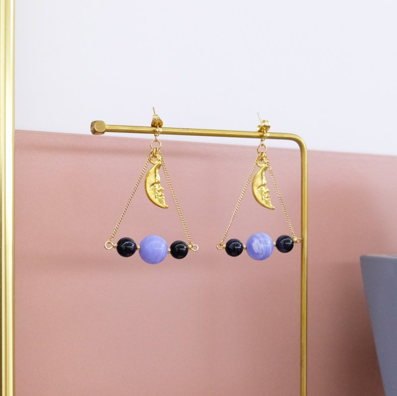 ALYSSA & JAMES 月亮系列 藍色黑色瑪瑙珠三角形耳環 (可轉耳夾)