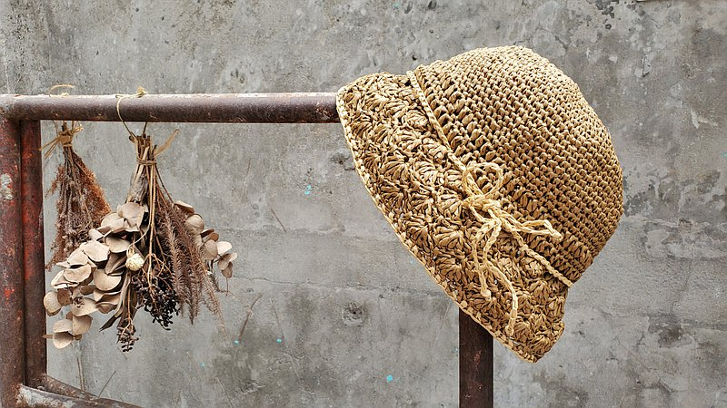 手織草帽-麥芽