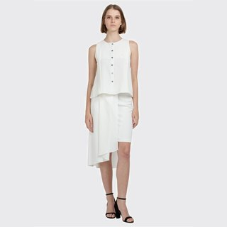 Pleated Buttoned Top (White)
