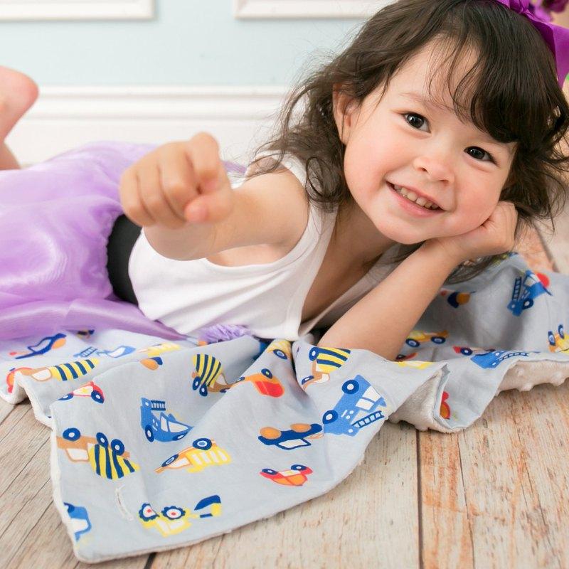 Minky多功能 點點顆粒 攜帶毯嬰兒毯冷氣毯被 灰色-汽車