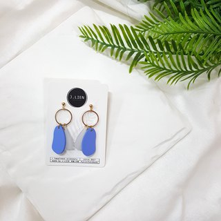 Color block equation - sea blue ear / ear clip handmade earrings Korea direct