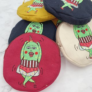 Embroidery Round Shape Coins Bag - Dance Little Fatty