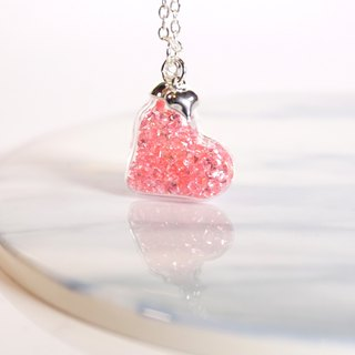 Heart Shape with Pink Crystals Glass Ball Necklace