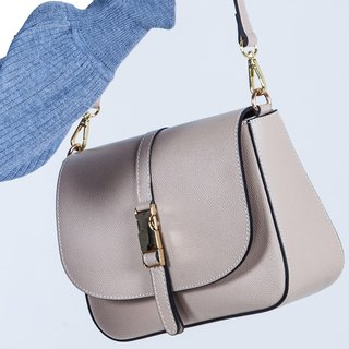 ITA BOTTEGA [Made in Italy] lychee leather shoulder saddle bag