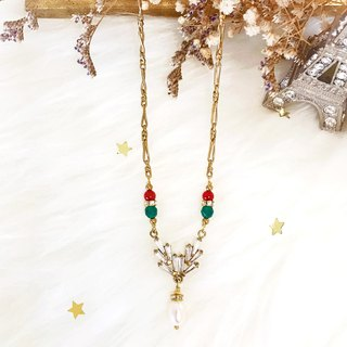 + Bright zircon ‧ pearl necklace +