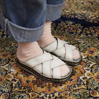 Tsubasa.Y Antique House A13 White Double Cross Martin Slippers, Dr.Martens