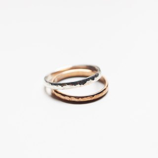 Combination Series - Sterling Silver and Copper Double Ring Forged Knocking Face Ring/Rose Gold