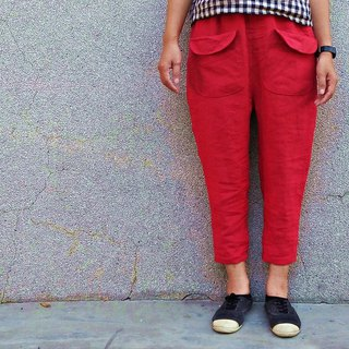 Front pocket narrow tube pants autumn and winter thick red