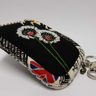 Dandelion Series - Embroidered purse - Black / edge printing cloth