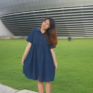 hand-woven cotton fabric with indigo dyes dress