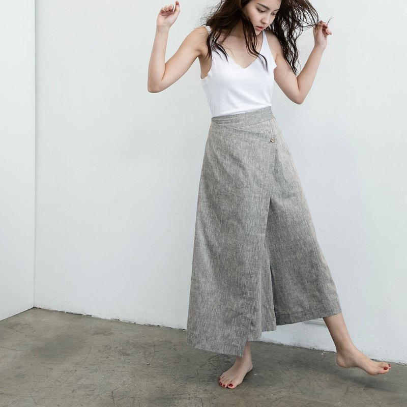 Handmade cotton low-cut trousers skirt - 麻绿