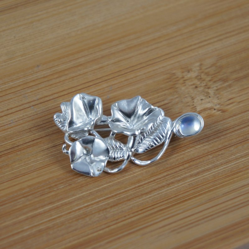 【半畝光】馬鞍藤 月光石胸針/胸墜 兩用款 純銀系列創作