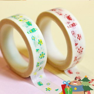 【Pieces of Memory / Mini Story Washi Tape】(2 per pack: brick red & citron-green)【回憶裡的點點滴滴 / 微故事和紙膠帶】(磚紅與黃綠,各1入)