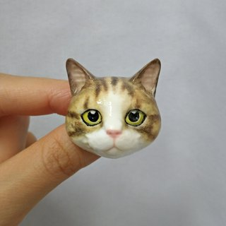 3D Print ~ Hand-Painted Cat Brooch