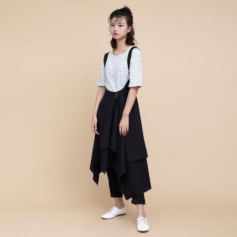 kitann ino asymmetric stack chiffon strap dress skirts