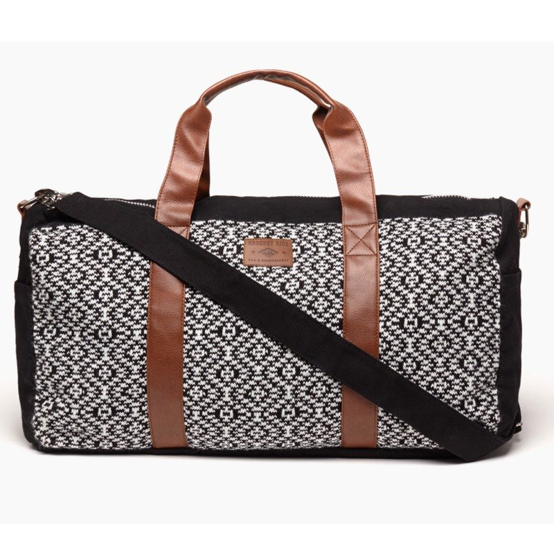 Knitted Leather Handle Travel Bag Black & White The Pike Watches in Taiwan - USA Krochet Kids Brand - Exclusive Agent