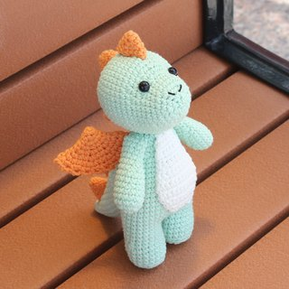 Cyan dinosaur Dragon Paul hand crocheted