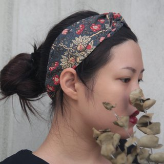 No flowers from Japan brought back to Japan cotton hand-made cross elastic hair band